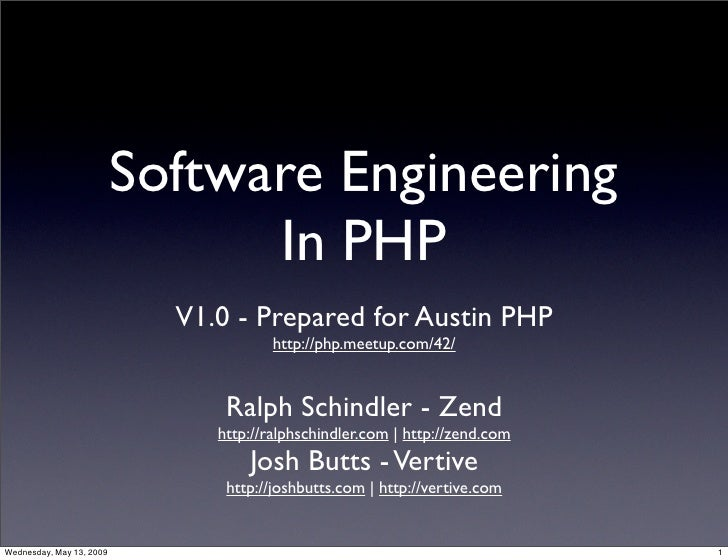 Software Engineering                                 In PHP                             V1.0 - Prepared for Austin PHP    ...