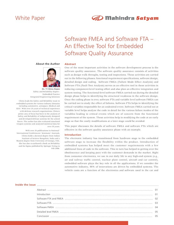 White Paper                                                               Software FMEA and Software FTA –                ...