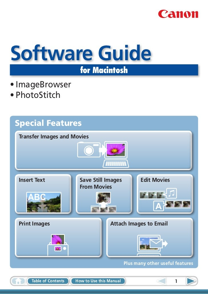Software Guide                             for Macintosh•ImageBrowser•PhotoStitch Special Features  Transfer Images and ...