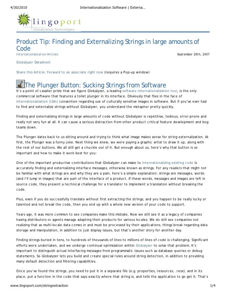 Software Internationalization (i18n) Article: Externalizing Large Amounts of Strings from Source Code