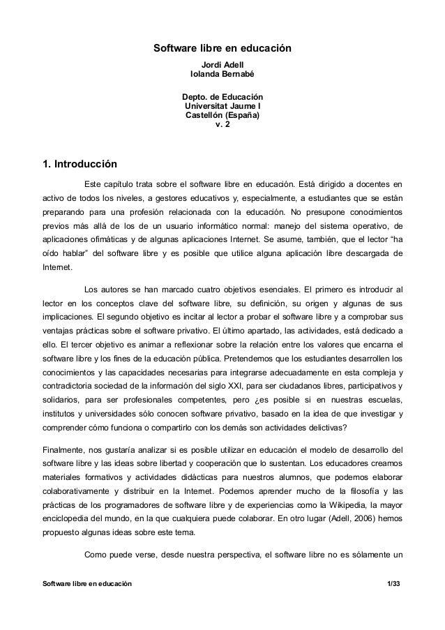 Software libre en educación                                            Jordi Adell                                        ...