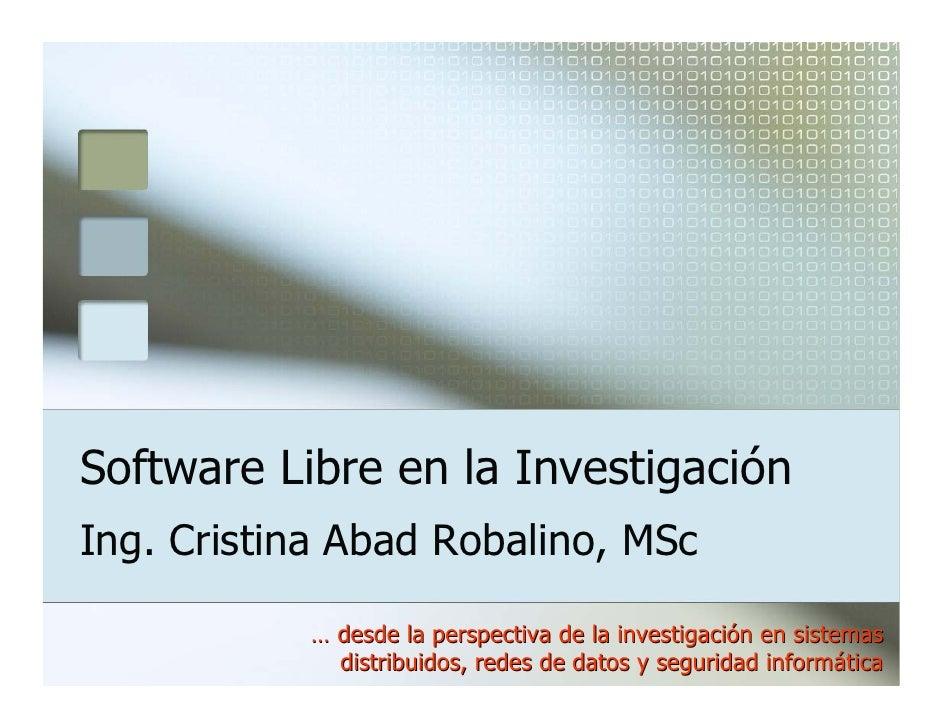 Software Libre en la Investigación