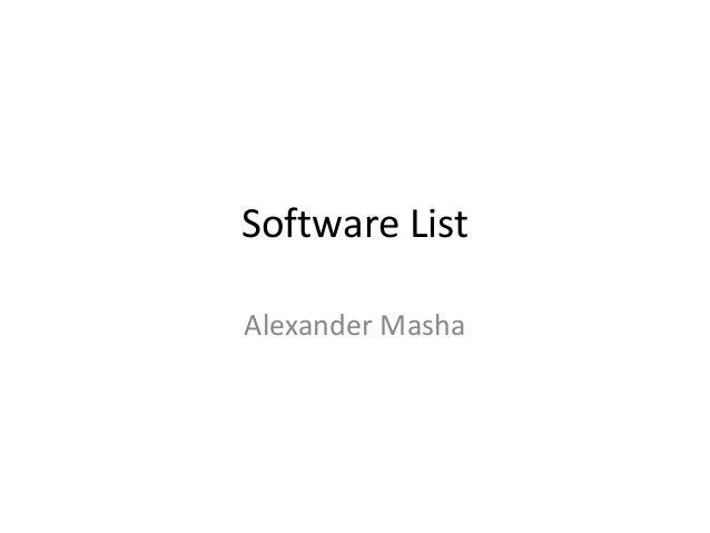 Software List Alexander Masha