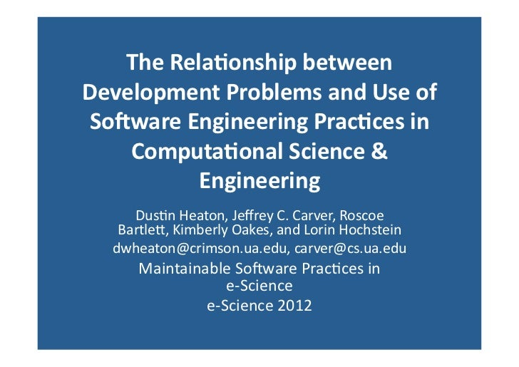 The Relationship Between Development Problems and Use of Software Engineering Practices in Computational Science