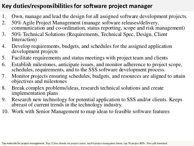 Software Project Manager Roles And Responsibilities