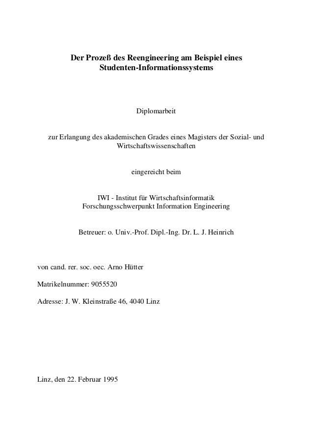 Der Prozeß des Reengineering am Beispiel eines Studenten-Informationssystems Diplomarbeit zur Erlangung des akademischen G...