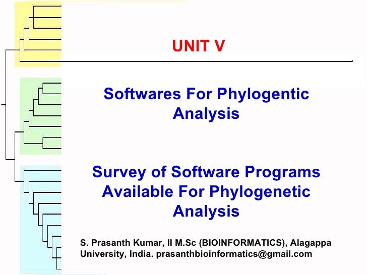 Softwares For Phylogentic Analysis Survey of Software Programs Available For Phylogenetic Analysis UNIT V S. Prasanth Kuma...