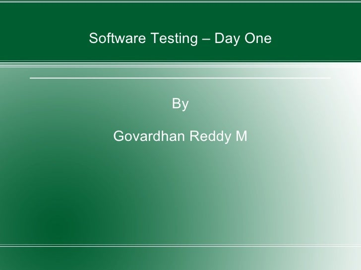Software Testing - Day One