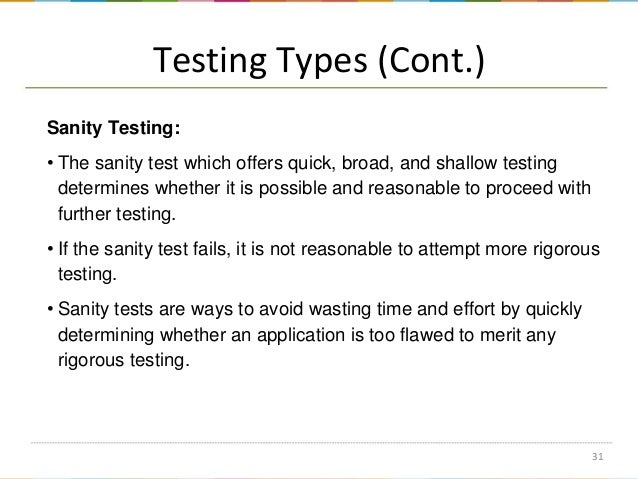 What are the different types of test and it definitions?