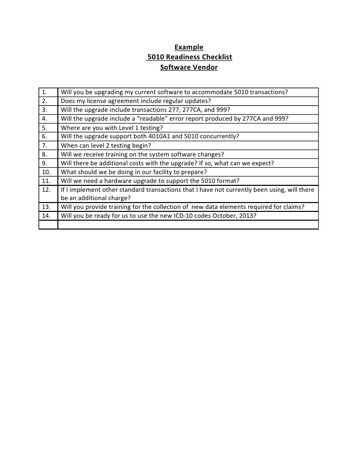 Example                                      5010 Readiness Checklist                                         Software Ven...