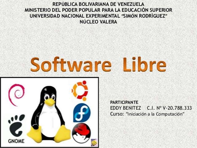 REPÚBLICA BOLIVARIANA DE VENEZUELA MINISTERIO DEL PODER POPULAR PARA LA EDUCACIÒN SUPERIOR UNIVERSIDAD NACIONAL EXPERIMENT...