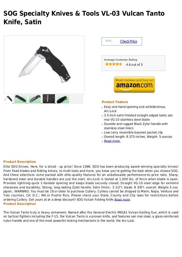 SOG Specialty Knives & Tools VL-03 Vulcan TantoKnife, Satin                                                               ...