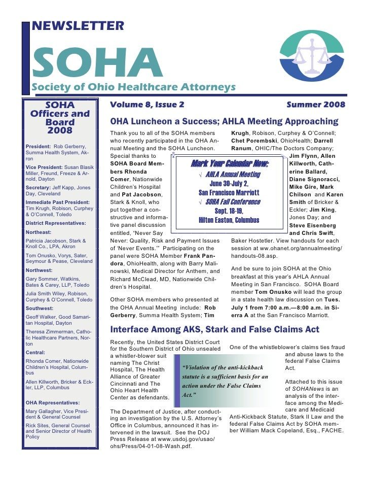 NEWSLETTER     SOHA   Society of Ohio Healthcare Attorneys      SOHA                         Volume 8, Issue 2            ...
