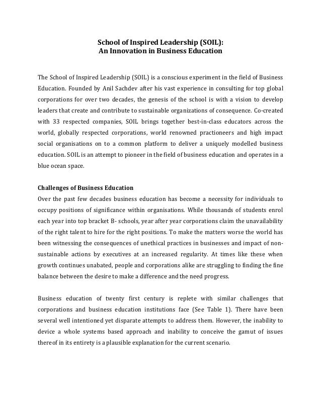 SOIL-An innovation in business education-AIMA Case Study