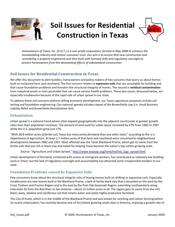 Soil Issues for Residential                                  Construction in Texas          Homeowners of Texas, Inc. (H.O...