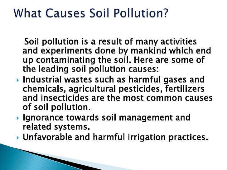 Causes of pollution: