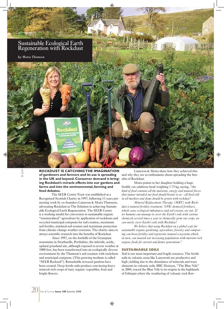 Sustainable Ecological EarthRegeneration with Rockdustby Moira Thomson  © SEER                ROCKDUST IS CATCHING THE IMA...