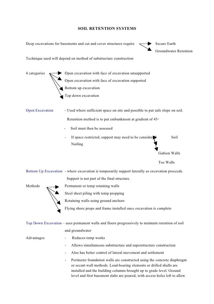 Soil retention systems revision notes