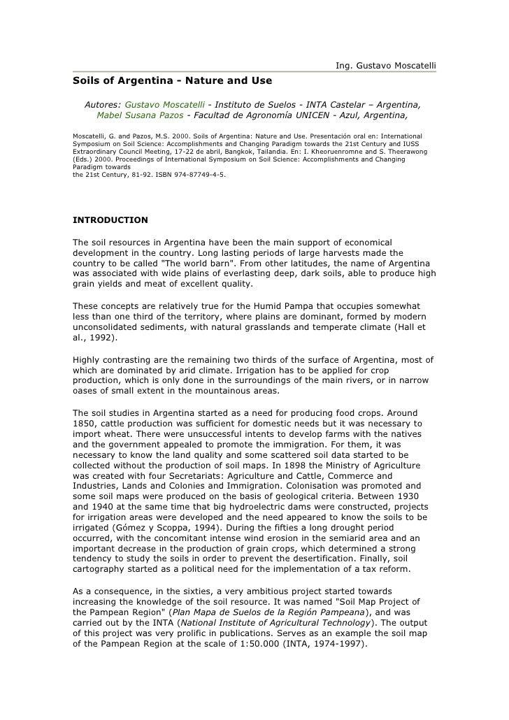Ing. Gustavo Moscatelli Soils of Argentina - Nature and Use     Autores: Gustavo Moscatelli - Instituto de Suelos - INTA C...