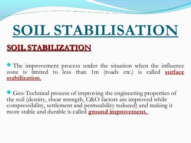 Soil stabilisation 1 for Soil stabilization