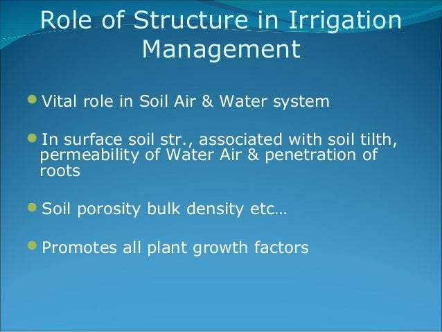 soil water relationship in irrigation tank