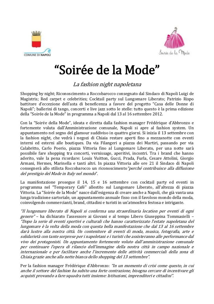 """Soirée de la Mode""                              La fashion night napoletanaShopping by night; Riconoscimento a Roccobaroc..."