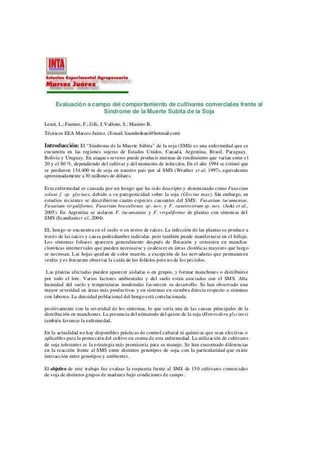 Soja muerte subita sms fusarium solani inta 2006