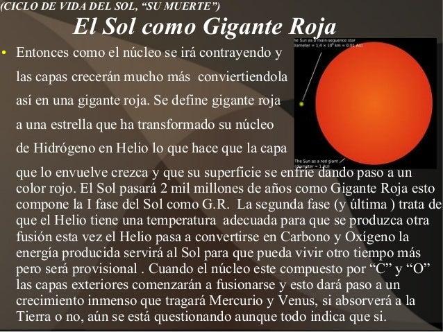 Resultado de imagen de La muerte del Sol como Gigante roja