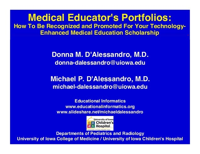 Medical Educator's Portfolios: How To Be Recognized and Promoted For Your Technology-Enhanced Medical Education Scholarship