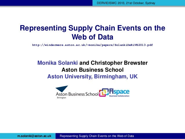Representing Supply Chain Events on the Web of Data