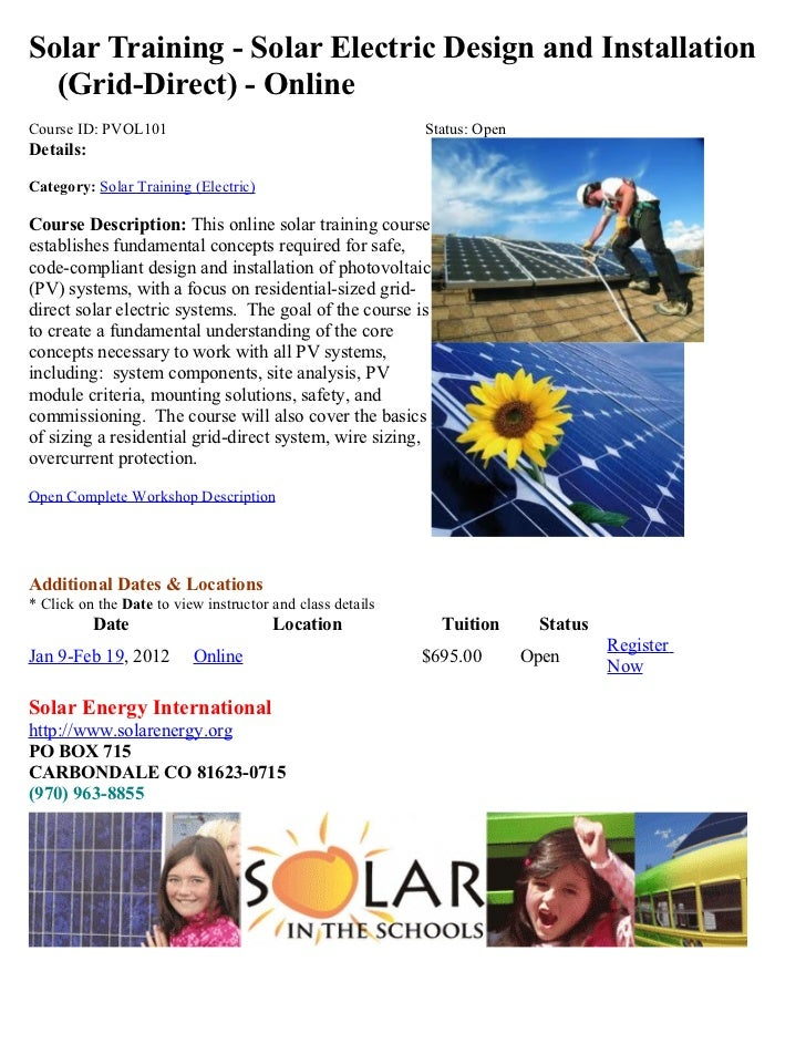 Solar Training - Solar Electric Design and Installation  (Grid-Direct) - OnlineCourse ID: PVOL101                         ...