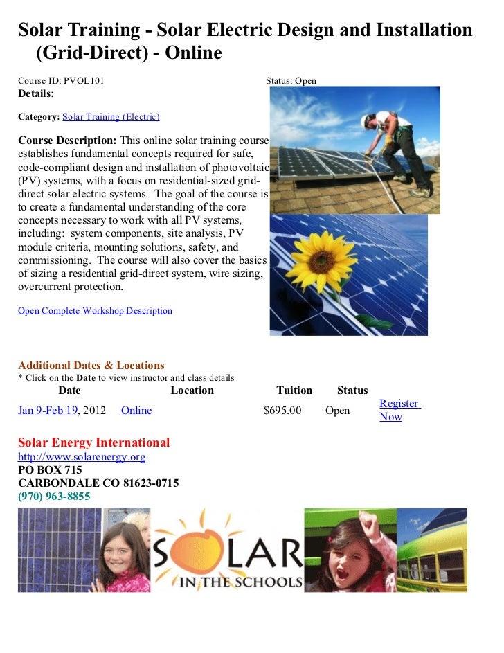Solar Energy Training Class