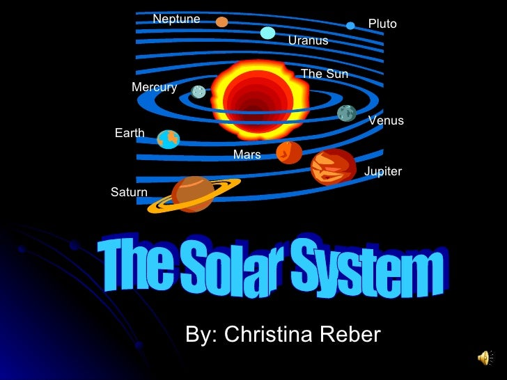 By: Christina Reber The Sun Saturn Earth Pluto Neptune Mercury Venus Mars Jupiter Uranus The Solar System