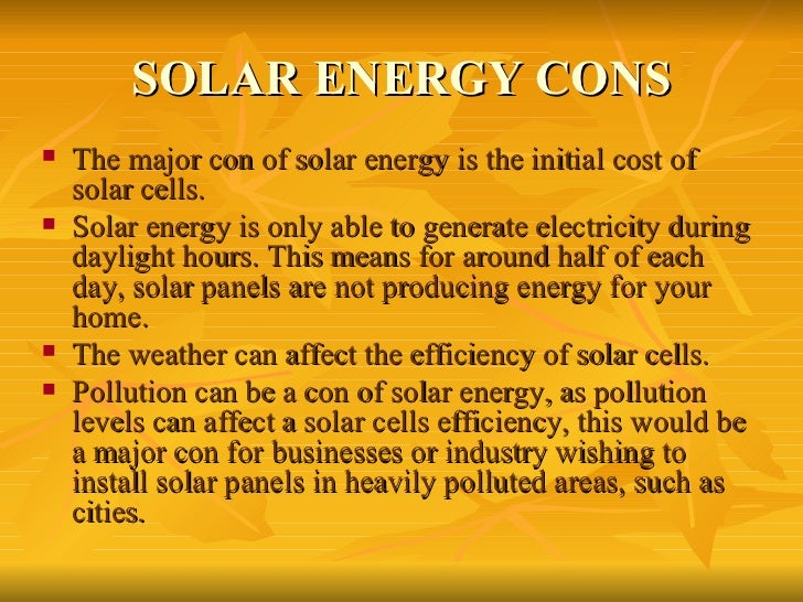 Solar energy cons ul li the major con of solar
