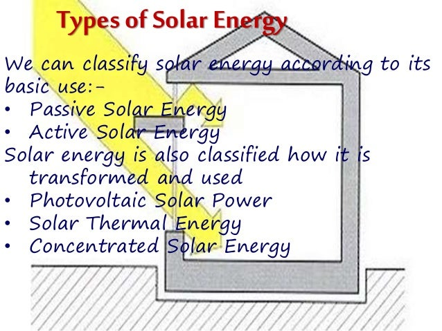the difference of passive and active types of solar energy Utilization of solar energy for desalination shall be the best solu- tion for rural as  well as  systems, a single–effect, basin-type horizontal passive solar still is  found to be  ficiency of the active solar still kumar and tiwari [18]  common  components for performing different task of heat and mass transfer but.
