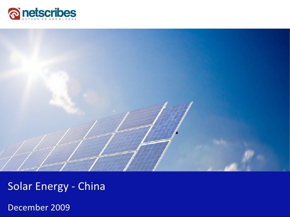 Solar Energy - China December 2009