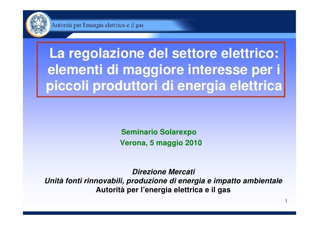 La regolazione del settore elettrico in Italia
