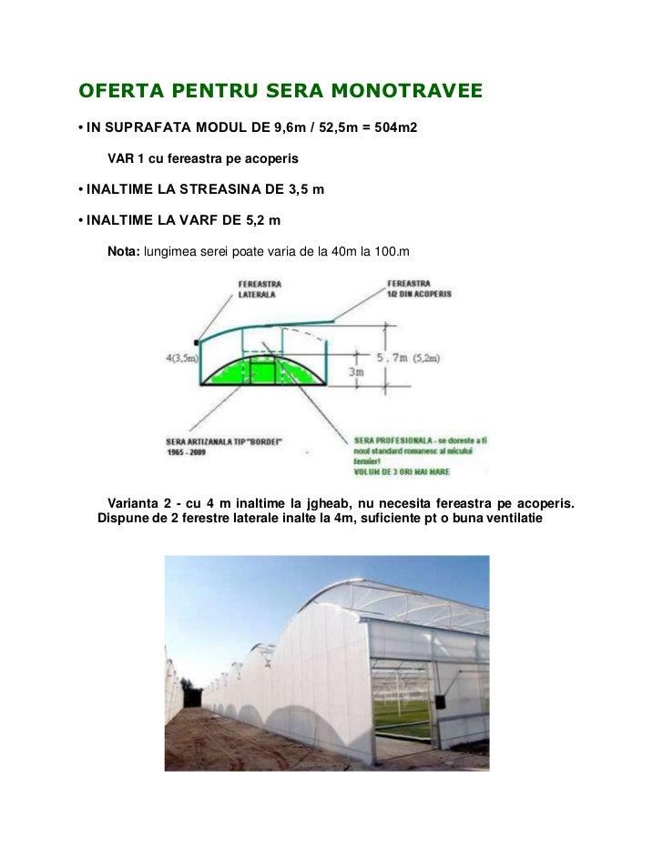 OFERTA PENTRU SERA MONOTRAVEE• IN SUPRAFATA MODUL DE 9,6m / 52,5m = 504m2   VAR 1 cu fereastra pe acoperis• INALTIME LA ST...