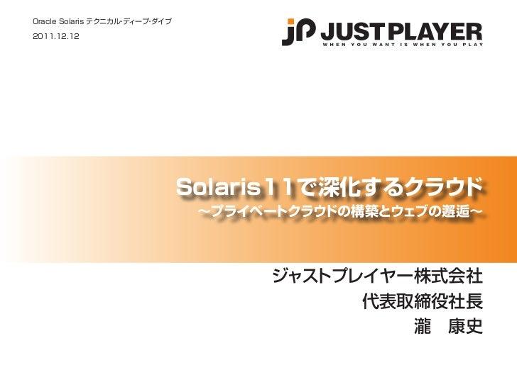 Oracle Solaris テクニカル ディープ ダイブ                    ・    ・2011.12.12                                Solaris11で深化するクラウド       ...