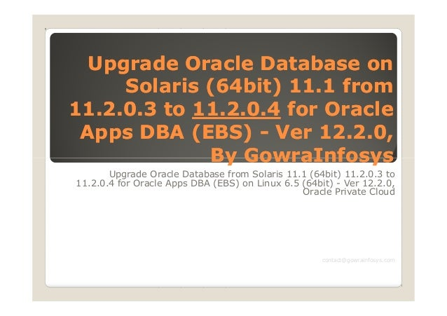 Upgrade Oracle Database onUpgrade Oracle Database on Solaris (64bit) 11.1 fromSolaris (64bit) 11.1 from 11.2.0.3 to11.2.0....