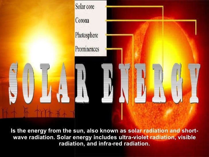 Is the energy from the sun, also known as solar radiation and short-wave radiation. Solar energy includes ultra-violet rad...