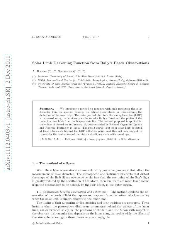 IL NUOVO CIMENTO                        Vol. ?, N. ?                                        ?arXiv:1112.0403v1 [astro-ph.S...