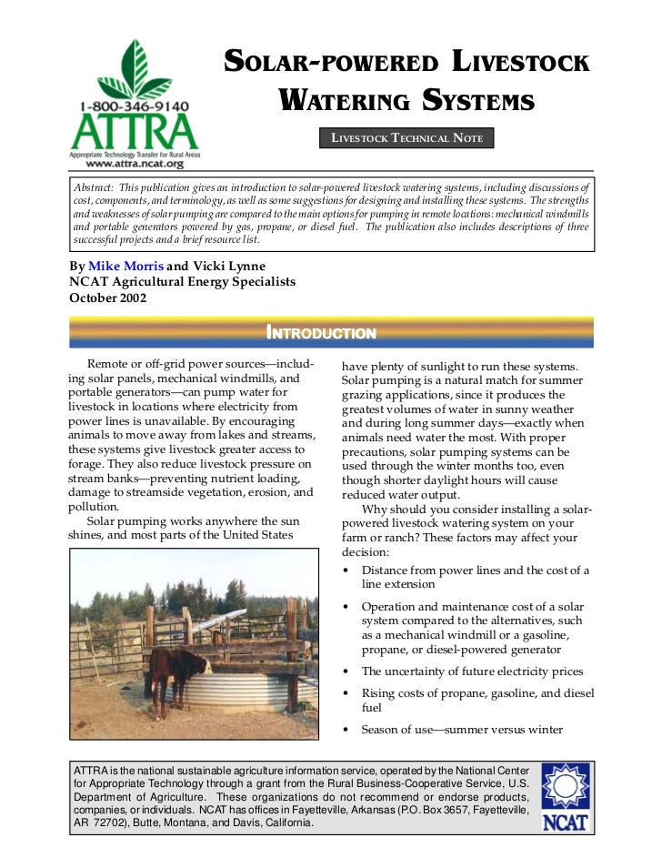 SOLAR-POWERED LIVESTOCK                                      WATERING SYSTEMS                                             ...