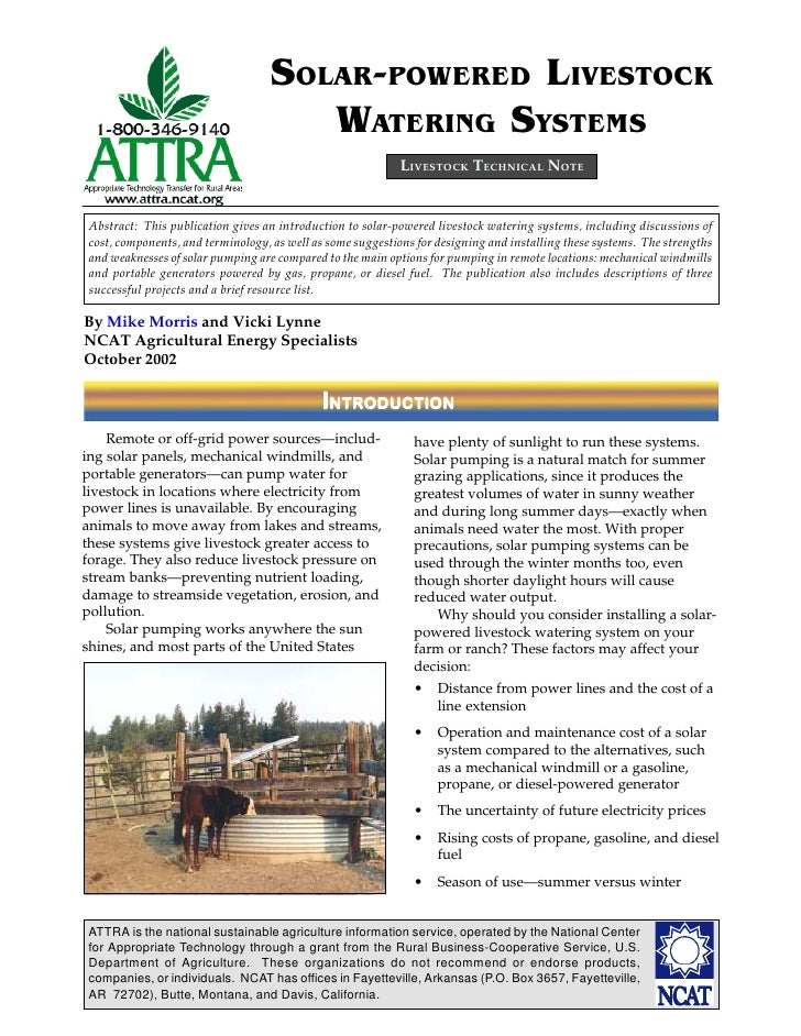 Solar-powered Livestock Watering Systems