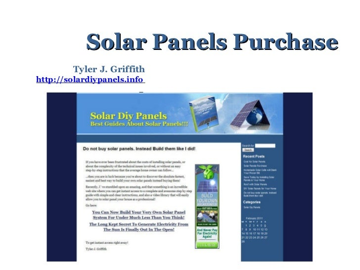 Solar Panels Purchase Tyler J. Griffith http://solardiypanels.info