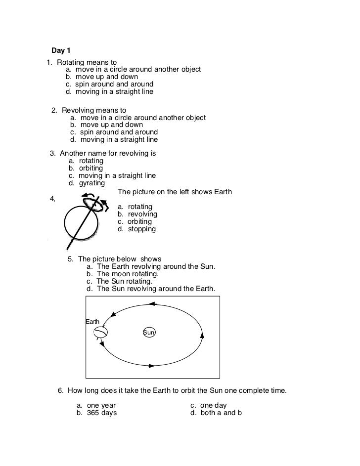 Earth 39 s Rotation and Revolution Worksheets