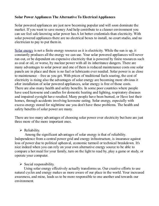 Solar power appliances the alternative to electrical appliances