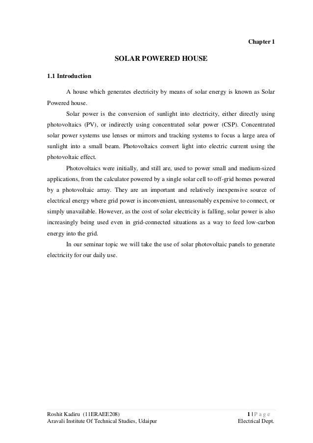 Roshit Kadiru (11ERAEE208) 1 | P a g e Aravali Institute Of Technical Studies, Udaipur Electrical Dept. Chapter 1 SOLAR PO...