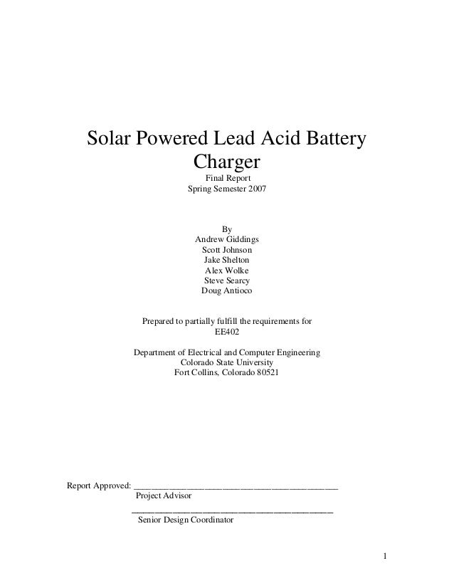 Solar Powered Lead Acid Battery                Charger                                   Final Report                     ...