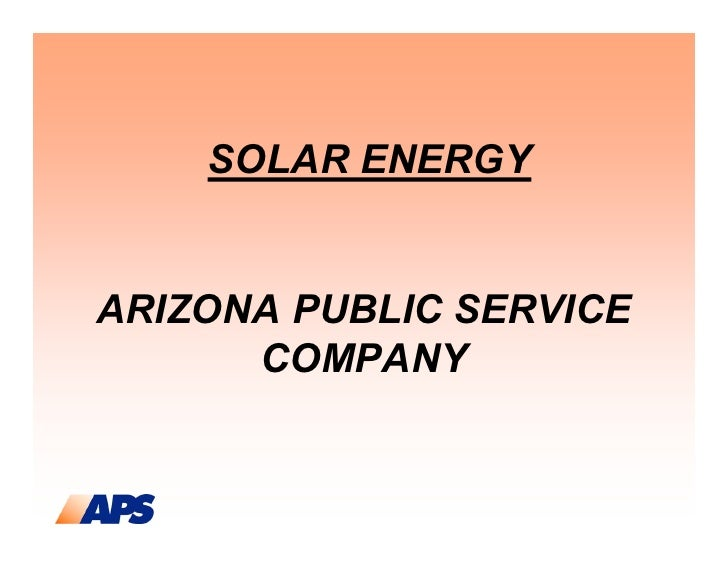 SOLAR ENERGYARIZONA PUBLIC SERVICE      COMPANY